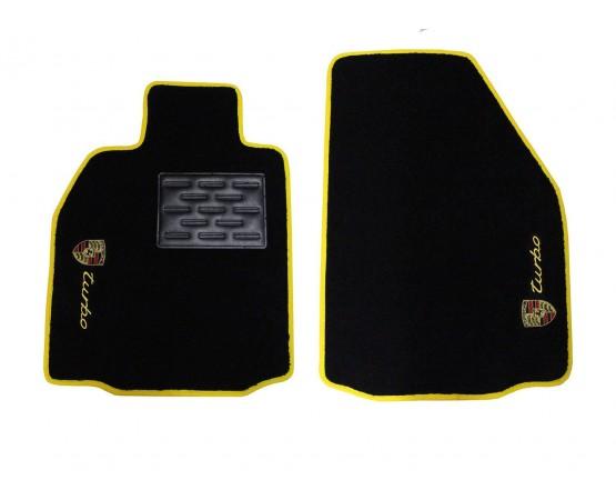 Tapete Porsche Carrera Turbo Preto/amarelo Luxo (dianteiros) (Alfabetoauto) por alfabetoauto.com.br