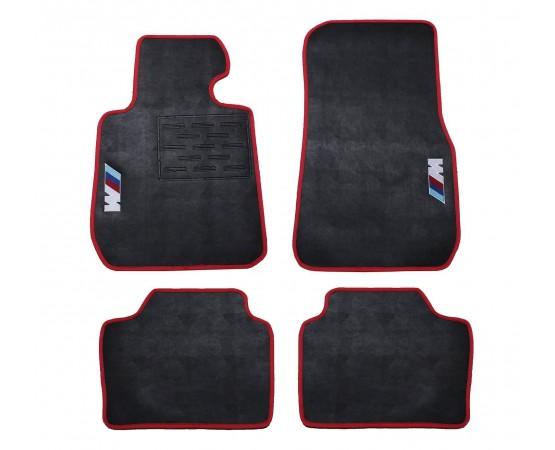 Tapete BMW Série 3M Preto/vermelho Borracha (Alfabetoauto) por alfabetoauto.com.br