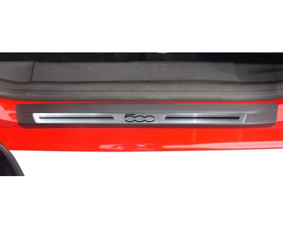 Soleira Premium Aço Escovado 2P Fiat500 (NP Adesivos e Resinagem) por alfabetoauto.com.br