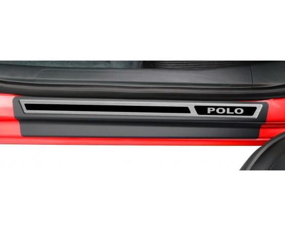 Soleira Premium Vw Aço Escovado 4P Polo 2018 (NP Adesivos e Resinagem) por alfabetoauto.com.br