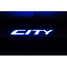 Soleira Aço Inox Led Azul Honda City 2008 - 2014 Ha09cy09l